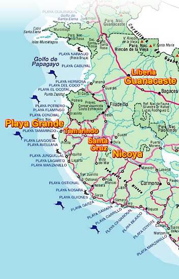 Mapa De Costa Rica Playas.Playa Grande Posicion Y Mapas Costa Rica Sol Y Luna Lodge