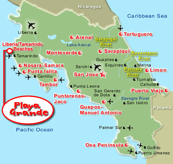 Costa Rica Map Sol y Luna Lodge Playa Grande Location