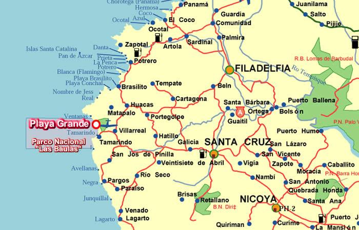 Playa Grande Costa Rica Landkarten - Sol y Luna Lodge - Lage